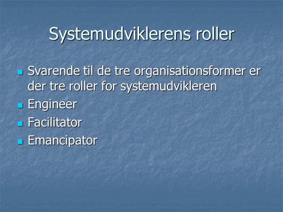 Systemudviklerens roller  Svarende til de tre organisationsformer er der tre roller for systemudvikleren  Engineer  Facilitator  Emancipator