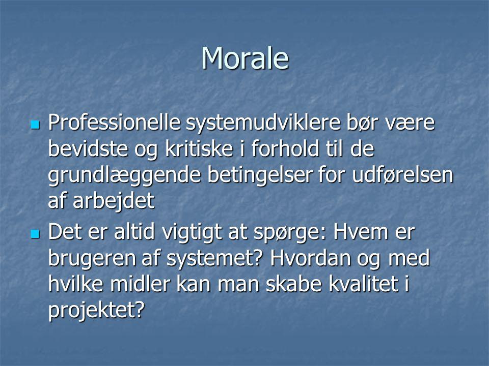 Morale  Professionelle systemudviklere bør være bevidste og kritiske i forhold til de grundlæggende betingelser for udførelsen af arbejdet  Det er altid vigtigt at spørge: Hvem er brugeren af systemet.