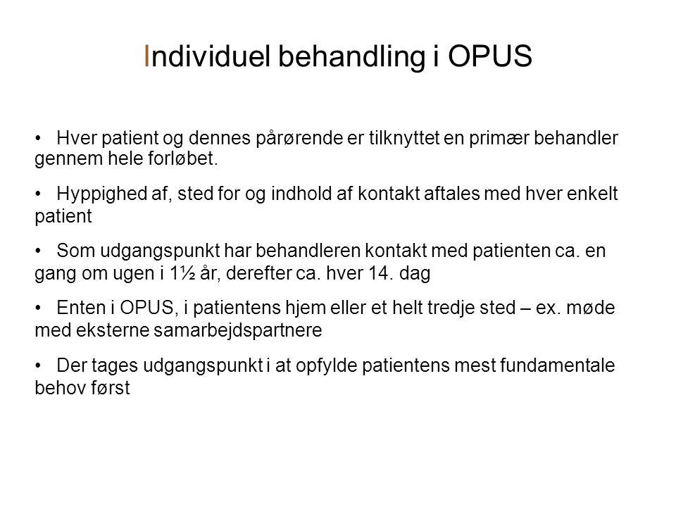 Individuel behandling i OPUS • Hver patient og dennes pårørende er tilknyttet en primær behandler gennem hele forløbet.