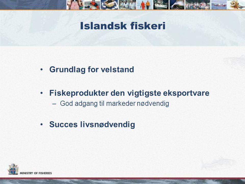 Islandsk fiskeri •Grundlag for velstand •Fiskeprodukter den vigtigste eksportvare –God adgang til markeder nødvendig •Succes livsnødvendig
