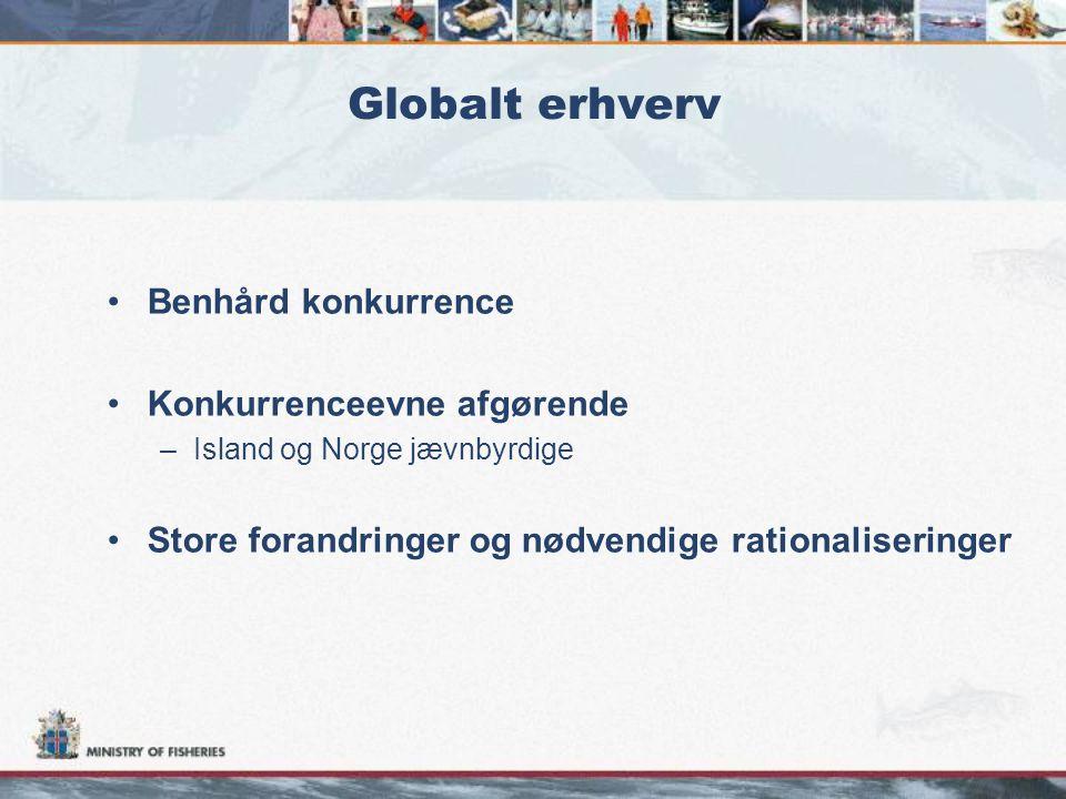 Globalt erhverv •Benhård konkurrence •Konkurrenceevne afgørende –Island og Norge jævnbyrdige •Store forandringer og nødvendige rationaliseringer