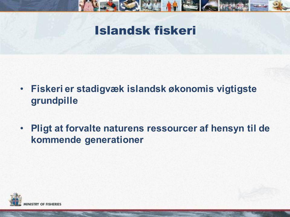 Islandsk fiskeri •Fiskeri er stadigvæk islandsk økonomis vigtigste grundpille •Pligt at forvalte naturens ressourcer af hensyn til de kommende generationer