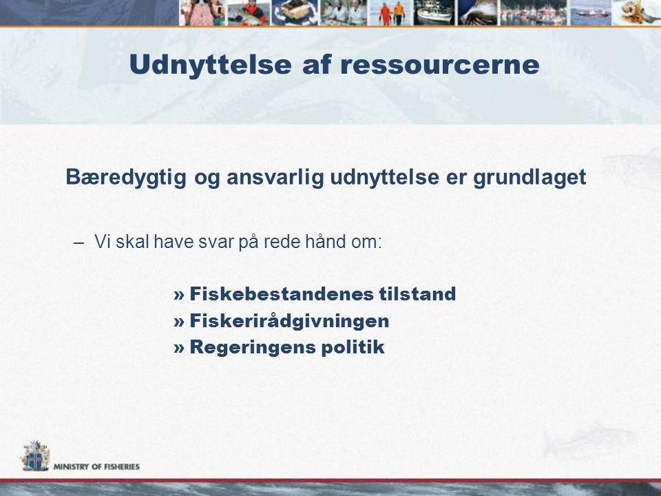 Udnyttelse af ressourcerne Bæredygtig og ansvarlig udnyttelse er grundlaget –Vi skal have svar på rede hånd om: »Fiskebestandenes tilstand »Fiskerirådgivningen »Regeringens politik