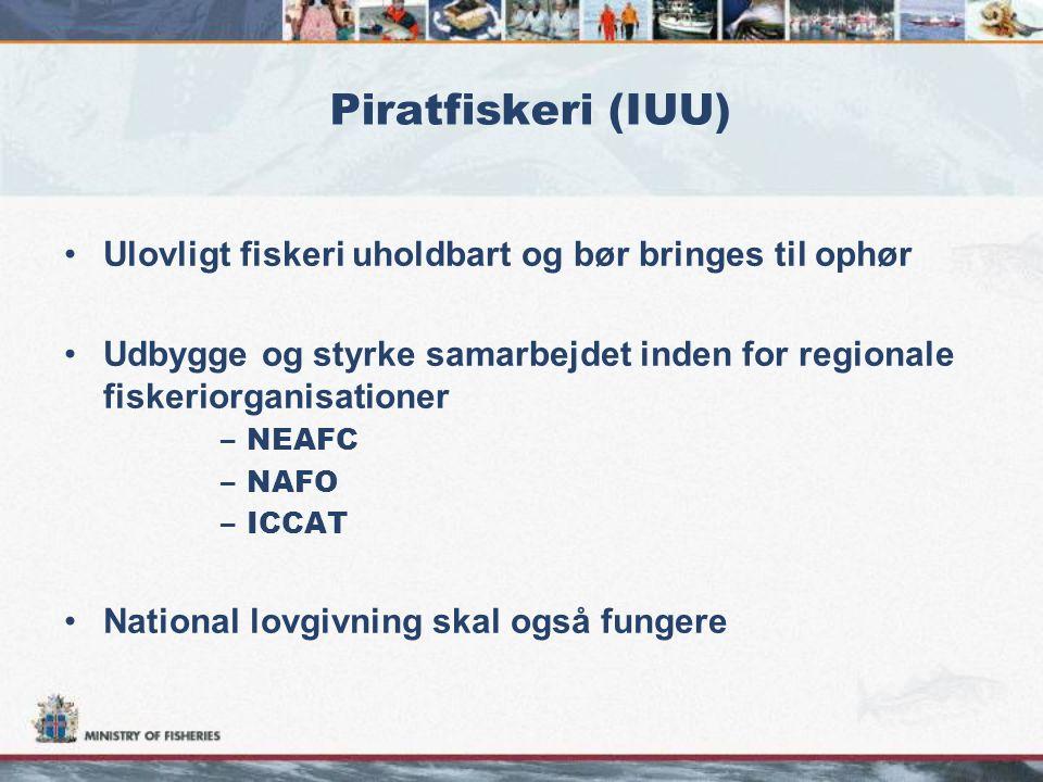Piratfiskeri (IUU) •Ulovligt fiskeri uholdbart og bør bringes til ophør •Udbygge og styrke samarbejdet inden for regionale fiskeriorganisationer –NEAFC –NAFO –ICCAT •National lovgivning skal også fungere
