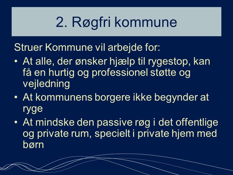 2. Røgfri kommune Struer Kommune vil arbejde for: •At alle, der ønsker hjælp til rygestop, kan få en hurtig og professionel støtte og vejledning •At k
