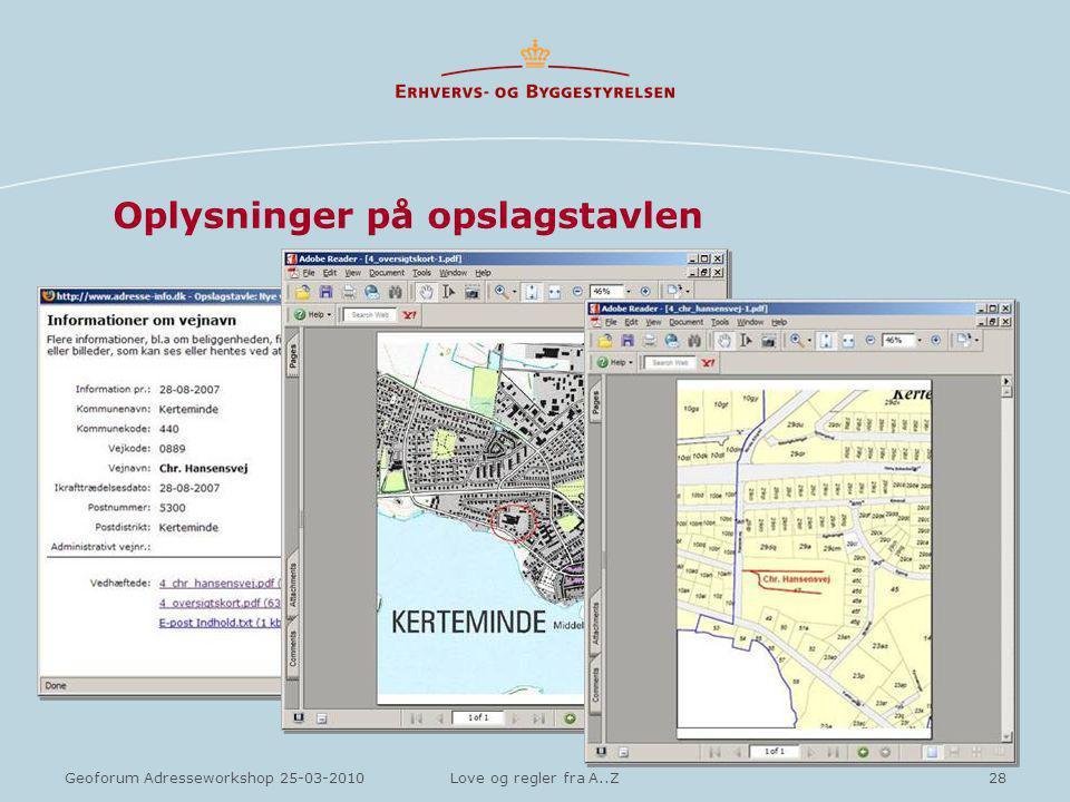 28Geoforum Adresseworkshop 25-03-2010Love og regler fra A..Z Oplysninger på opslagstavlen