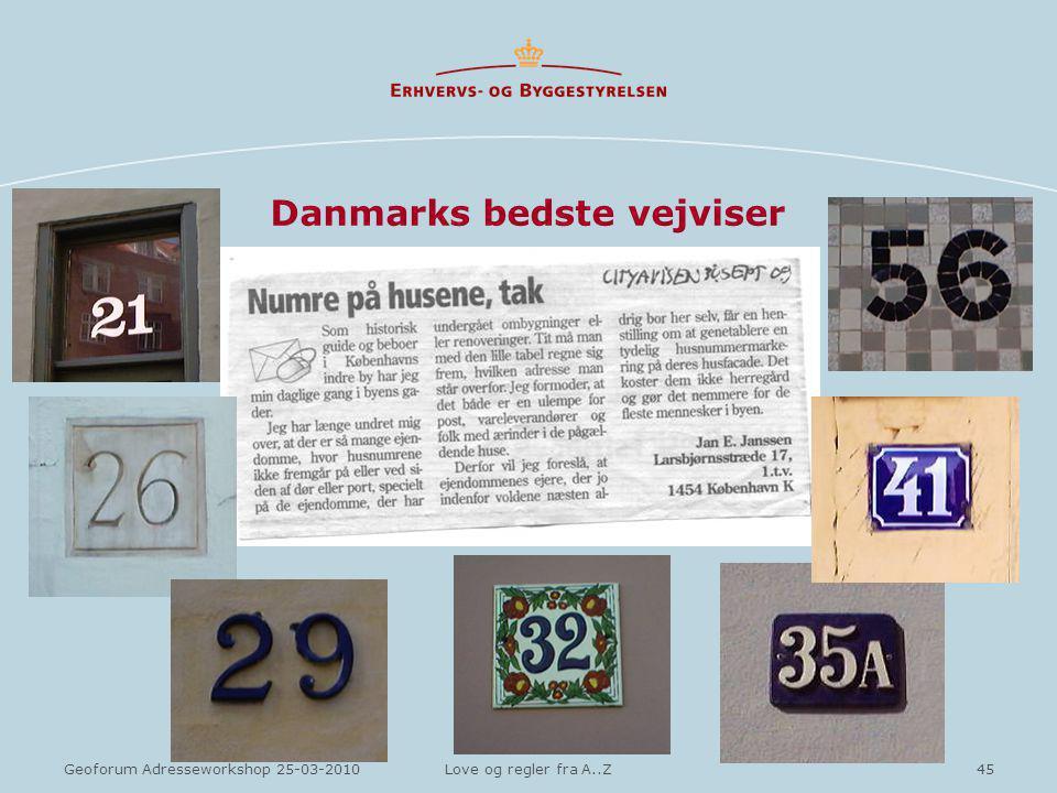 45Geoforum Adresseworkshop 25-03-2010Love og regler fra A..Z Danmarks bedste vejviser
