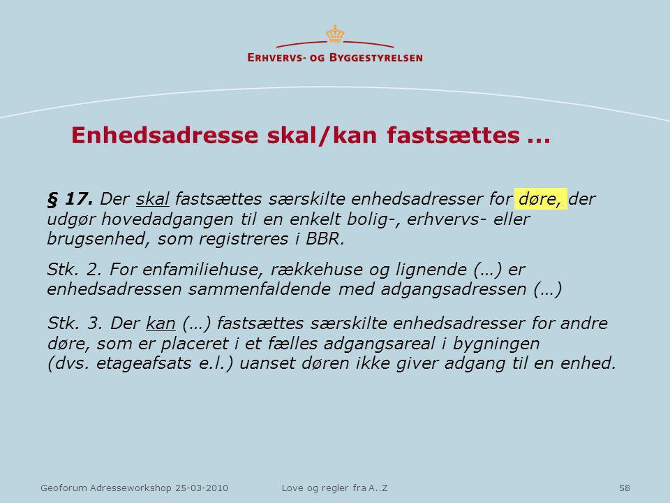 58Geoforum Adresseworkshop 25-03-2010Love og regler fra A..Z Enhedsadresse skal/kan fastsættes...