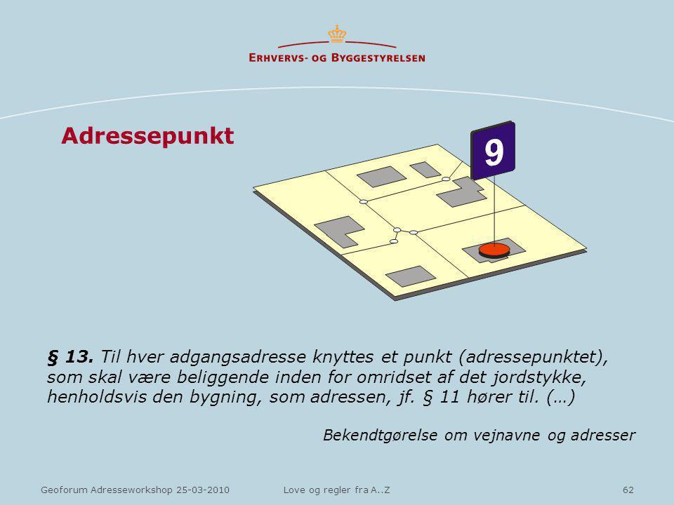 62Geoforum Adresseworkshop 25-03-2010Love og regler fra A..Z Adressepunkt § 13.