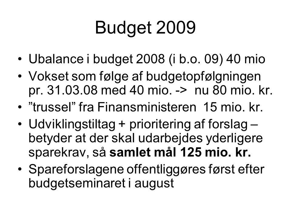 Budget 2009 •Ubalance i budget 2008 (i b.o. 09) 40 mio •Vokset som følge af budgetopfølgningen pr.