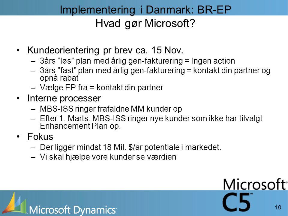 10 Implementering i Danmark: BR-EP Hvad gør Microsoft.