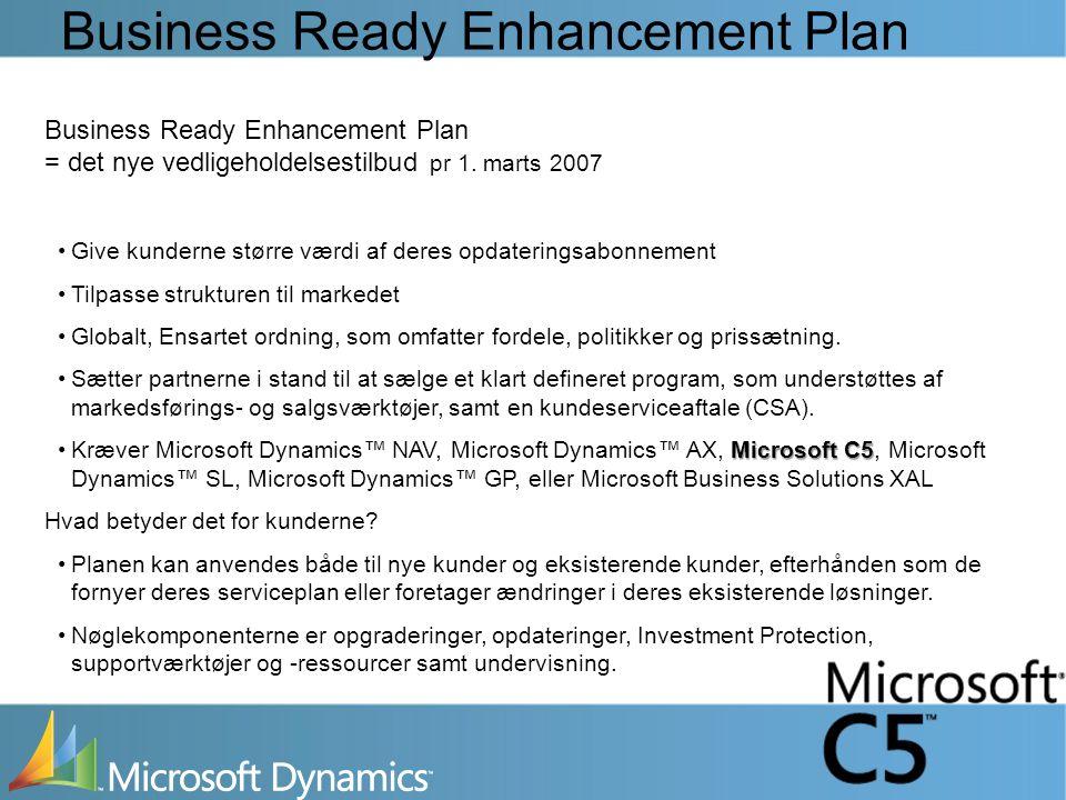 Business Ready Enhancement Plan Business Ready Enhancement Plan = det nye vedligeholdelsestilbud pr 1.