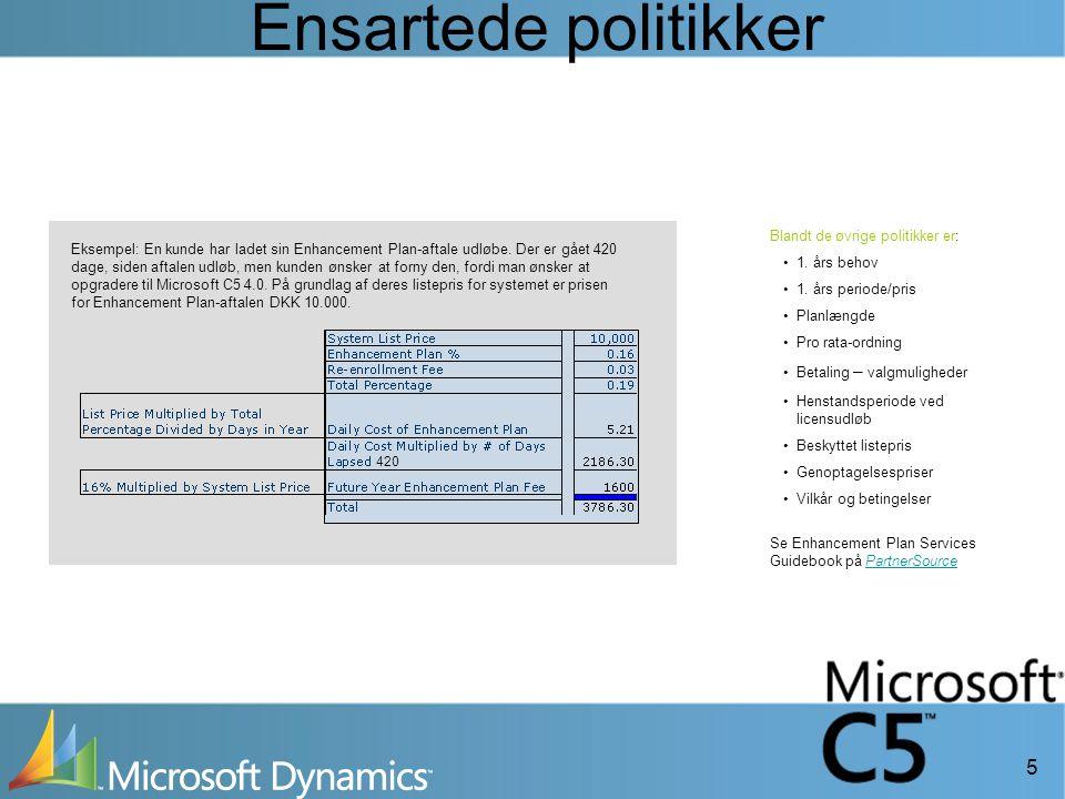 5 Ensartede politikker Eksempel: En kunde har ladet sin Enhancement Plan-aftale udløbe.