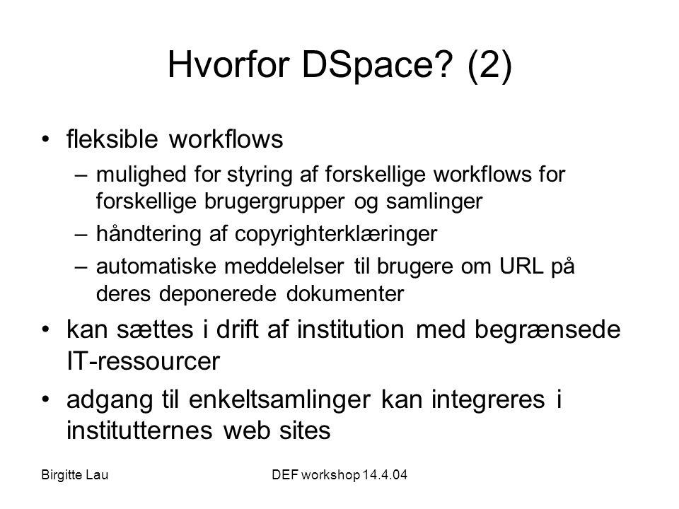 Birgitte LauDEF workshop 14.4.04 Hvorfor DSpace.