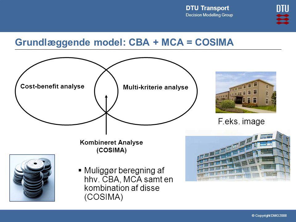 © Copyright DMG 2008 DTU Transport Decision Modelling Group Grundlæggende model: CBA + MCA = COSIMA Cost-benefit analyse Kombineret Analyse (COSIMA) Multi-kriterie analyse  Muliggør beregning af hhv.