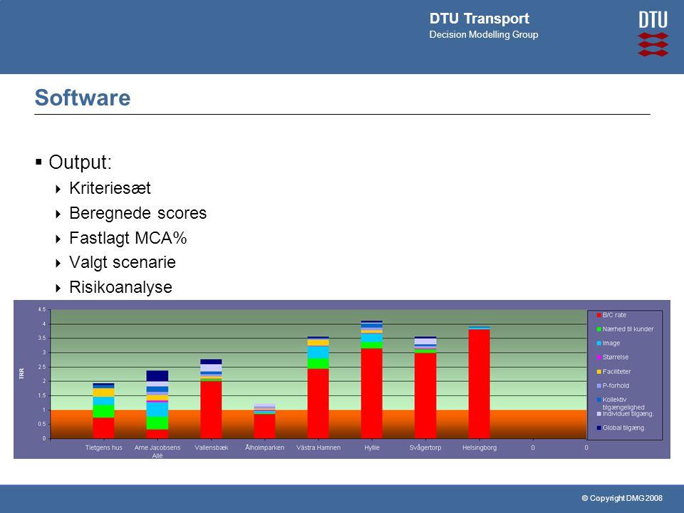 © Copyright DMG 2008 DTU Transport Decision Modelling Group Software  Output:  Kriteriesæt  Beregnede scores  Fastlagt MCA%  Valgt scenarie  Risikoanalyse