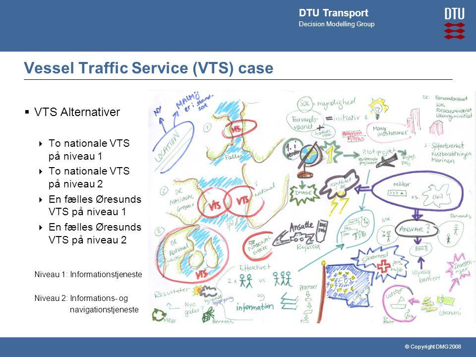 © Copyright DMG 2008 DTU Transport Decision Modelling Group Vessel Traffic Service (VTS) case  VTS Alternativer  To nationale VTS på niveau 1  To nationale VTS på niveau 2  En fælles Øresunds VTS på niveau 1  En fælles Øresunds VTS på niveau 2 Niveau 1: Informationstjeneste Niveau 2: Informations- og navigationstjeneste