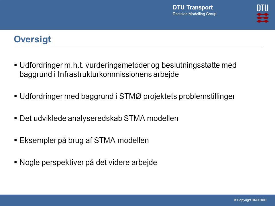 © Copyright DMG 2008 DTU Transport Decision Modelling Group Oversigt  Udfordringer m.h.t.