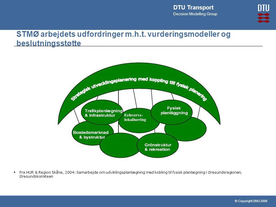 © Copyright DMG 2008 DTU Transport Decision Modelling Group STMØ arbejdets udfordringer m.h.t.