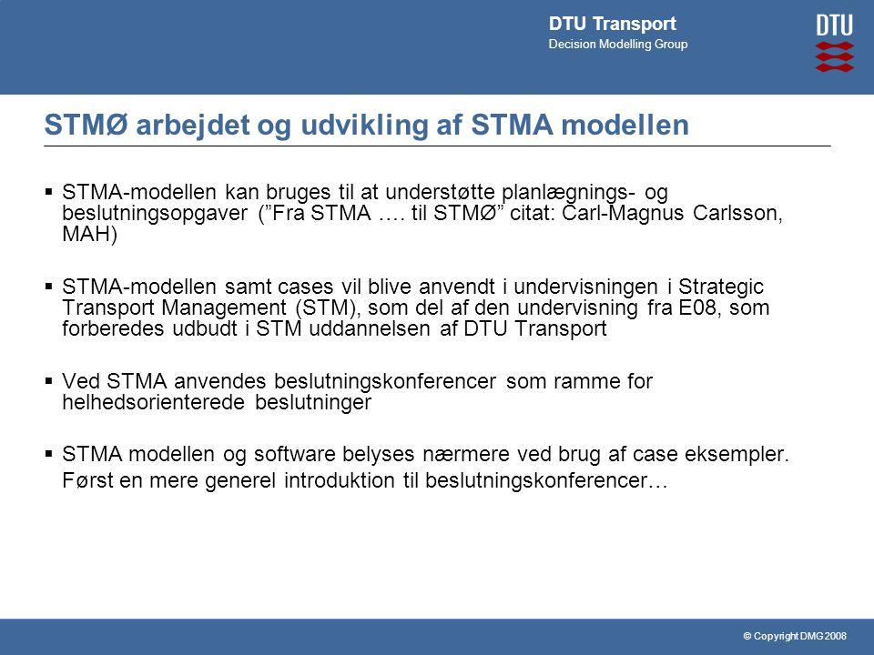 © Copyright DMG 2008 DTU Transport Decision Modelling Group STMØ arbejdet og udvikling af STMA modellen  STMA-modellen kan bruges til at understøtte planlægnings- og beslutningsopgaver ( Fra STMA ….