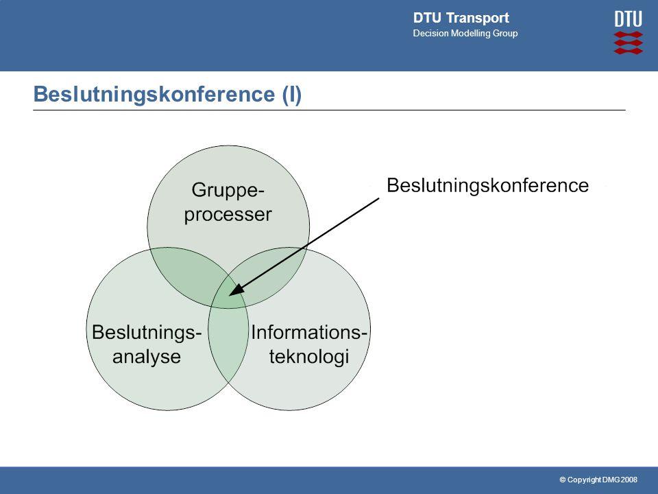 © Copyright DMG 2008 DTU Transport Decision Modelling Group Beslutningskonference (I)