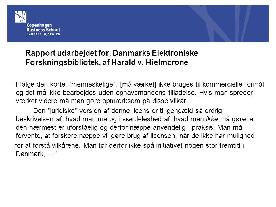 Rapport udarbejdet for, Danmarks Elektroniske Forskningsbibliotek, af Harald v.