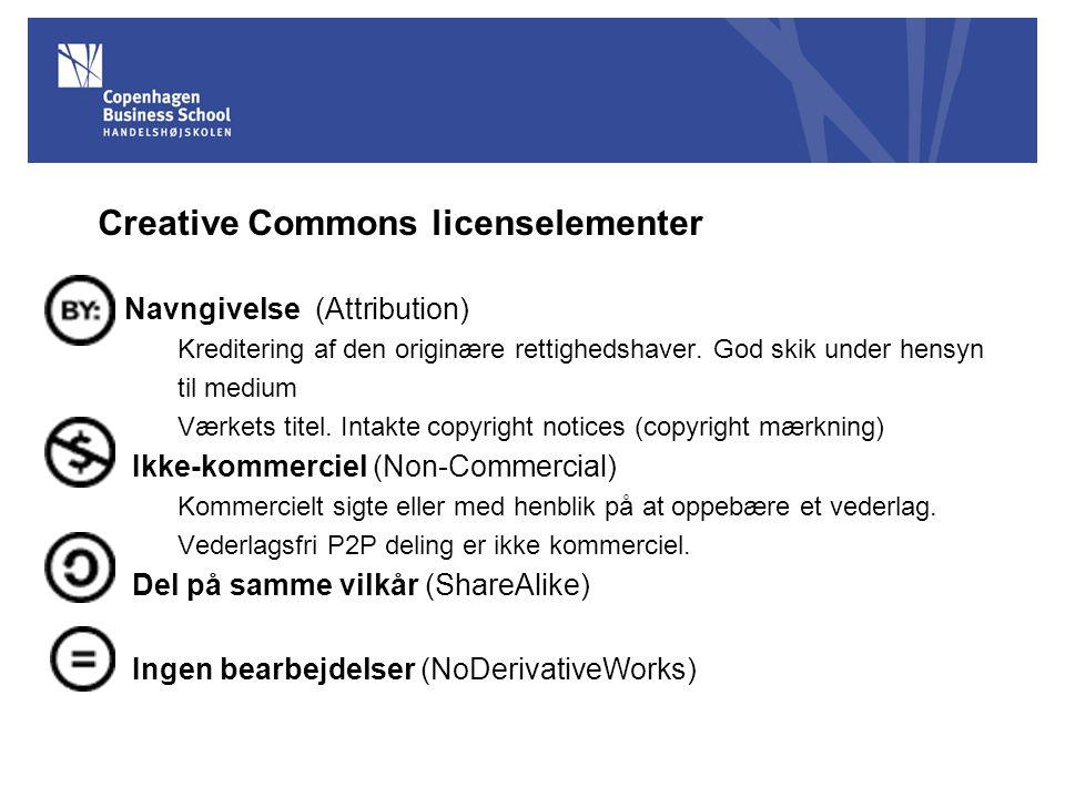 Creative Commons licenselementer Navngivelse (Attribution) Kreditering af den originære rettighedshaver.