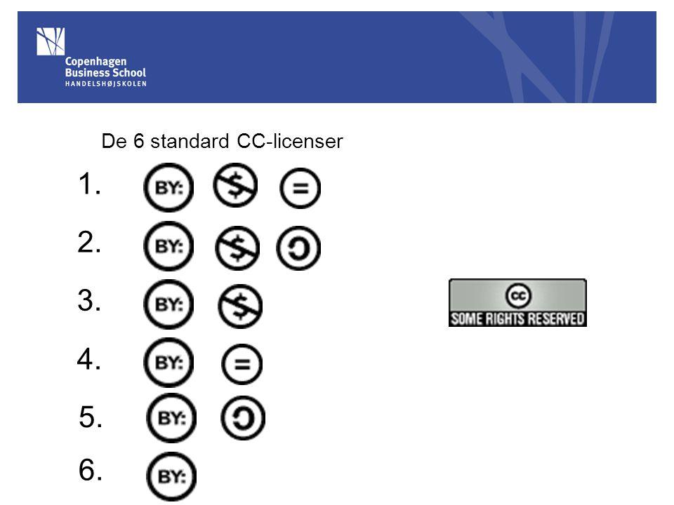 De 6 standard CC-licenser 1. 2. 3. 4. 5. 6.