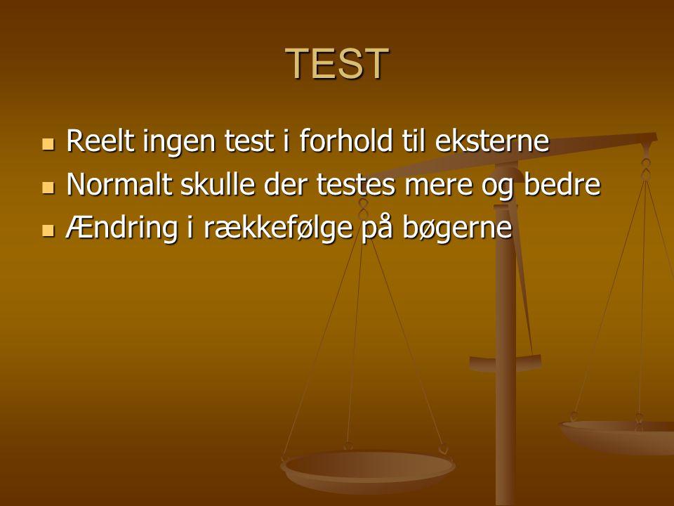 TEST  Reelt ingen test i forhold til eksterne  Normalt skulle der testes mere og bedre  Ændring i rækkefølge på bøgerne