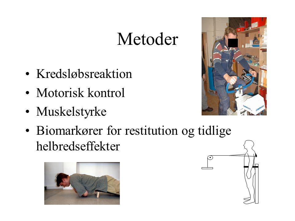 Metoder •Kredsløbsreaktion •Motorisk kontrol •Muskelstyrke •Biomarkører for restitution og tidlige helbredseffekter