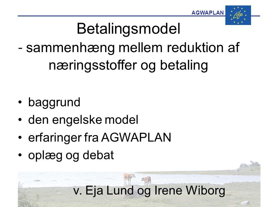 AGWAPLAN Betalingsmodel - sammenhæng mellem reduktion af næringsstoffer og betaling •baggrund •den engelske model •erfaringer fra AGWAPLAN •oplæg og debat v.