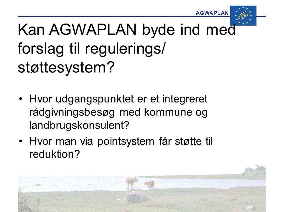 AGWAPLAN Kan AGWAPLAN byde ind med forslag til regulerings/ støttesystem.