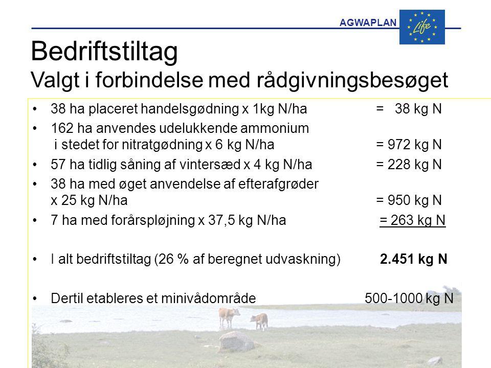 Bedriftstiltag Valgt i forbindelse med rådgivningsbesøget •38 ha placeret handelsgødning x 1kg N/ha = 38 kg N •162 ha anvendes udelukkende ammonium i stedet for nitratgødning x 6 kg N/ha = 972 kg N •57 ha tidlig såning af vintersæd x 4 kg N/ha = 228 kg N •38 ha med øget anvendelse af efterafgrøder x 25 kg N/ha= 950 kg N •7 ha med forårspløjning x 37,5 kg N/ha = 263 kg N •I alt bedriftstiltag (26 % af beregnet udvaskning) 2.451 kg N •Dertil etableres et minivådområde 500-1000 kg N
