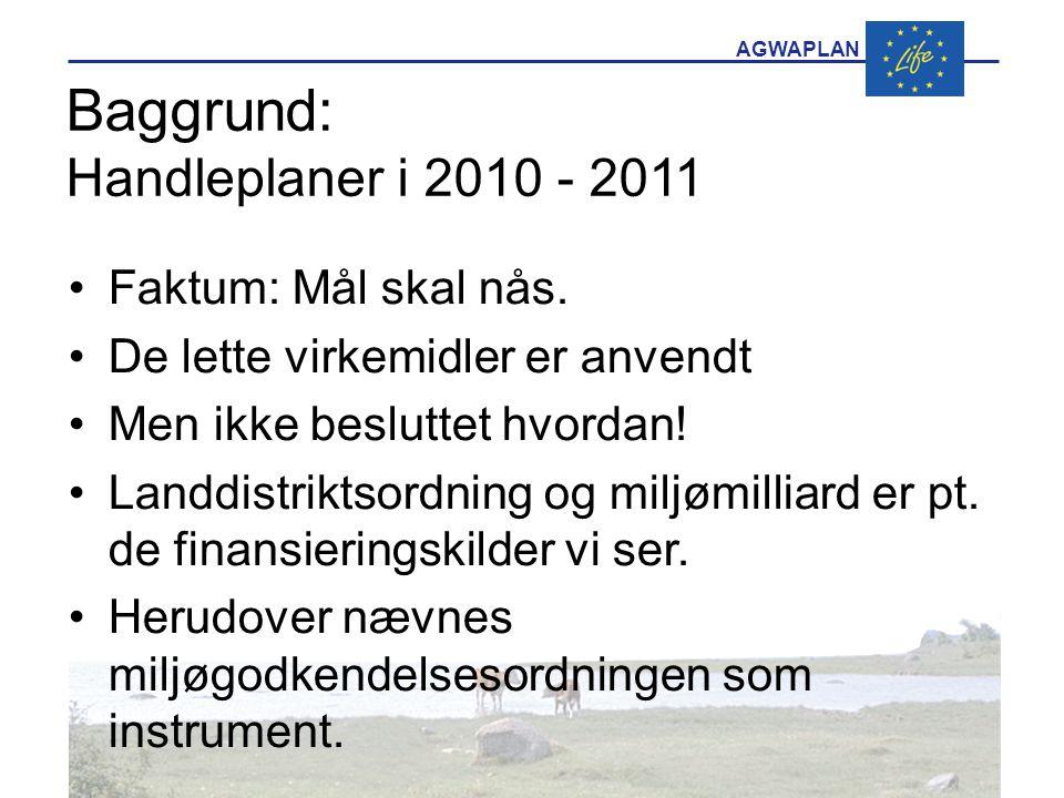 AGWAPLAN Baggrund: Handleplaner i 2010 - 2011 •Faktum: Mål skal nås.