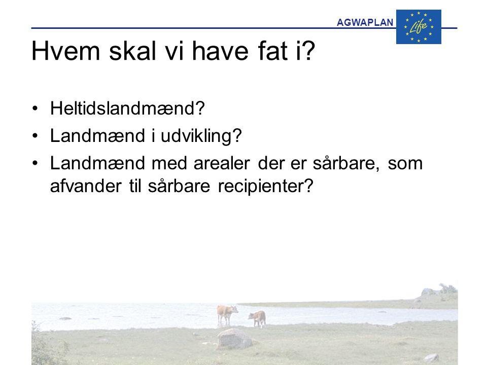AGWAPLAN Hvem skal vi have fat i. •Heltidslandmænd.
