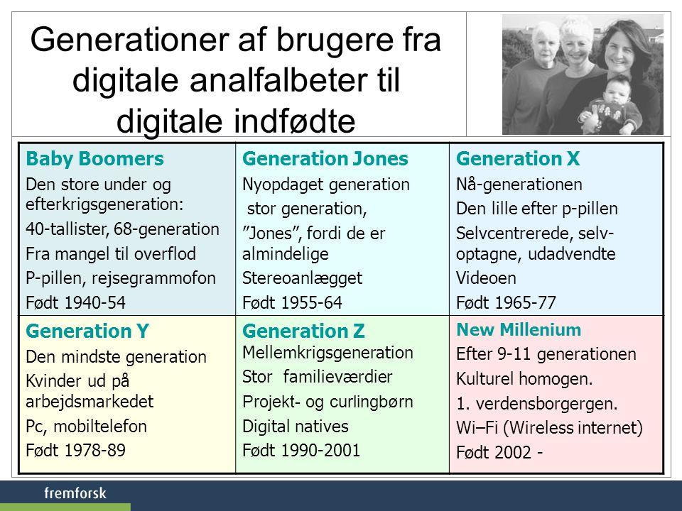 Generationer af brugere fra digitale analfalbeter til digitale indfødte Baby Boomers Den store under og efterkrigsgeneration: 40-tallister, 68-generation Fra mangel til overflod P-pillen, rejsegrammofon Født 1940-54 Generation Jones Nyopdaget generation stor generation, Jones , fordi de er almindelige Stereoanlægget Født 1955-64 Generation X Nå-generationen Den lille efter p-pillen Selvcentrerede, selv- optagne, udadvendte Videoen Født 1965-77 Generation Y Den mindste generation Kvinder ud på arbejdsmarkedet Pc, mobiltelefon Født 1978-89 Generation Z Mellemkrigsgeneration Stor familieværdier Projekt- og curlingbørn Digital natives Født 1990-2001 New Millenium Efter 9-11 generationen Kulturel homogen.