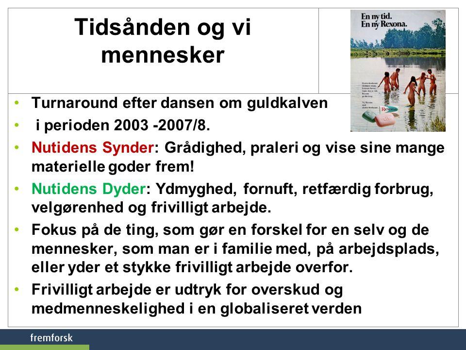 Tidsånden og vi mennesker •Turnaround efter dansen om guldkalven • i perioden 2003 -2007/8.