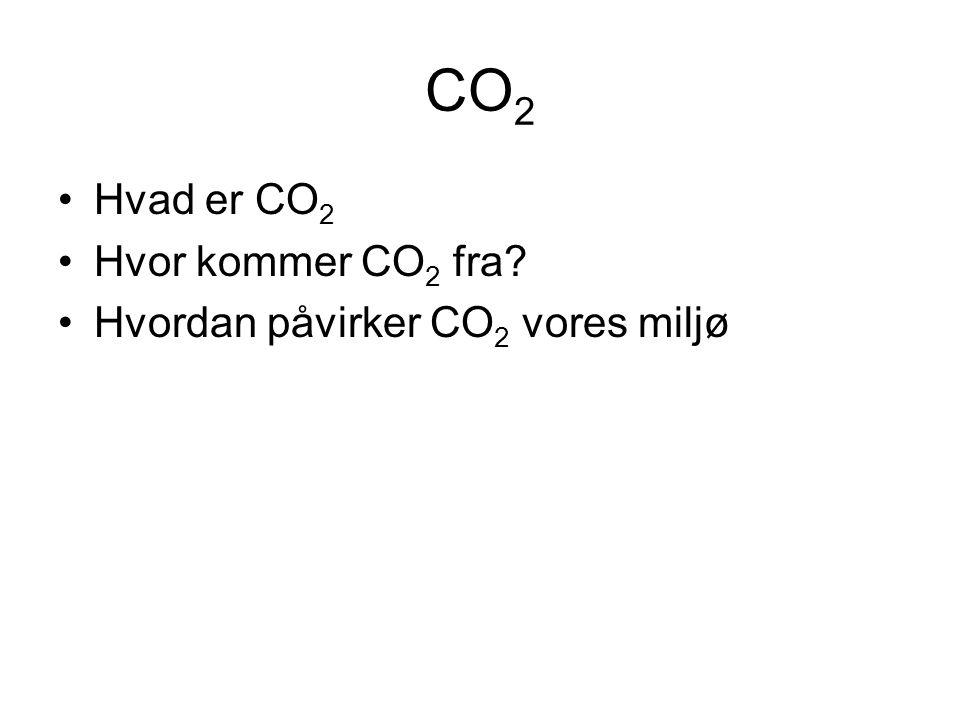 CO 2 •Hvad er CO 2 •Hvor kommer CO 2 fra •Hvordan påvirker CO 2 vores miljø