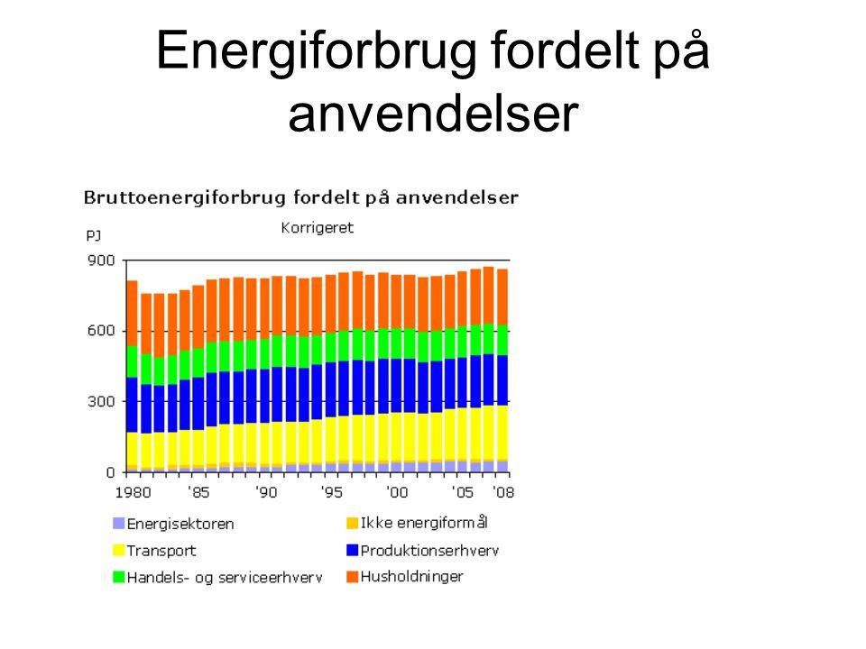 Energiforbrug fordelt på anvendelser