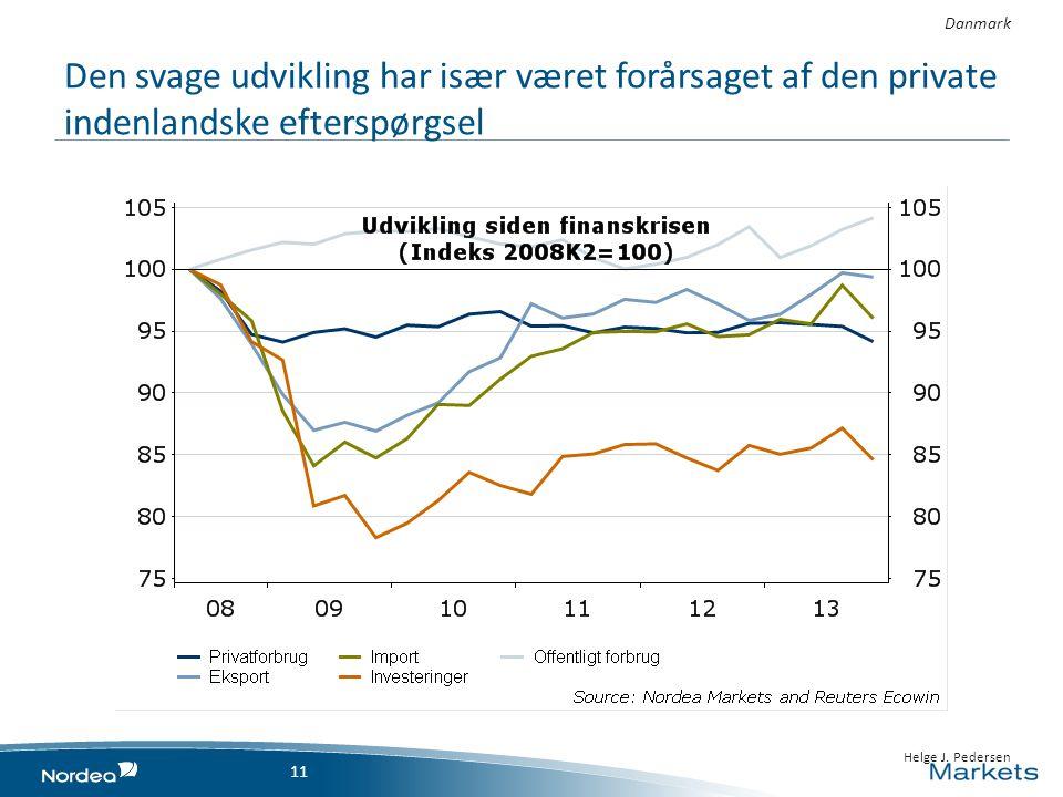 Den svage udvikling har især været forårsaget af den private indenlandske efterspørgsel Danmark 11 • 23 April 2014 1111 • Helge J.