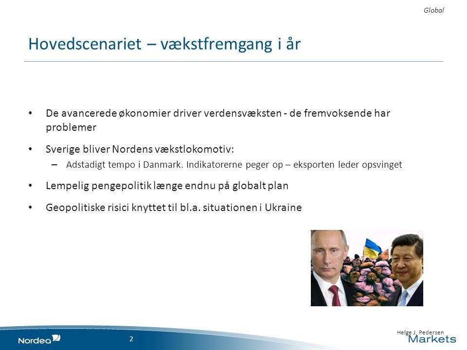 Hovedscenariet – vækstfremgang i år • De avancerede økonomier driver verdensvæksten - de fremvoksende har problemer • Sverige bliver Nordens vækstlokomotiv: – Adstadigt tempo i Danmark.