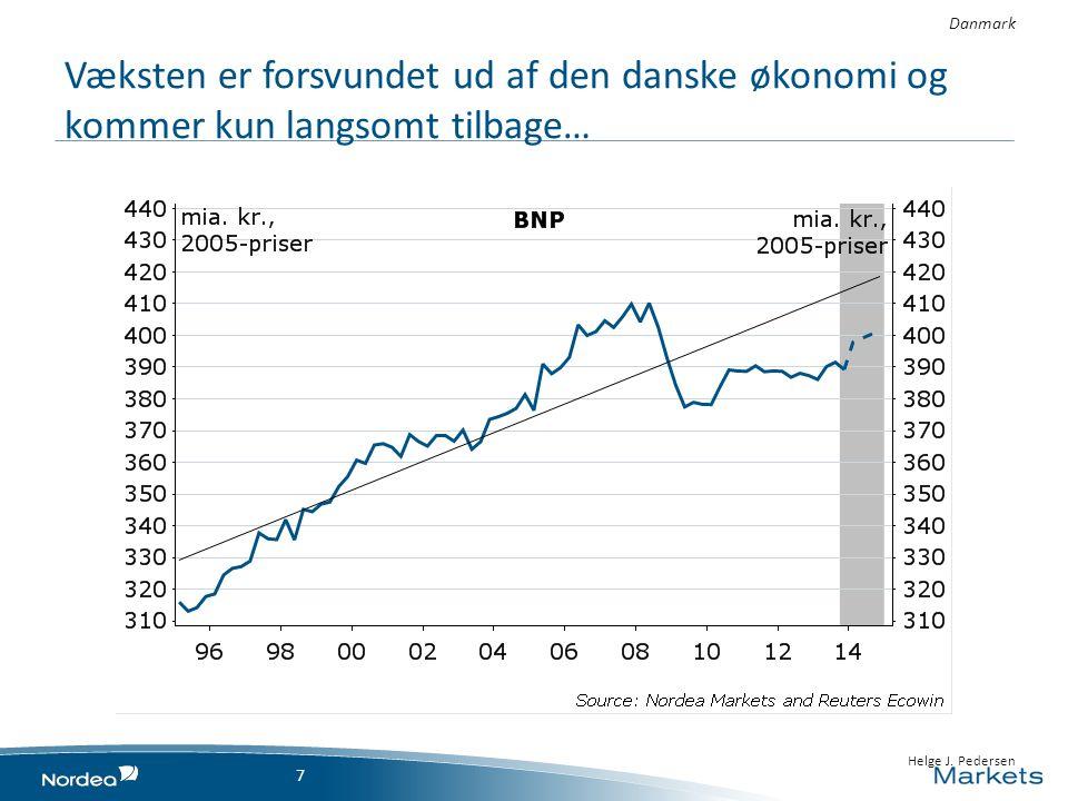 Danmark Væksten er forsvundet ud af den danske økonomi og kommer kun langsomt tilbage… 7 • 23 April 2014 7 • 7 • Helge J.