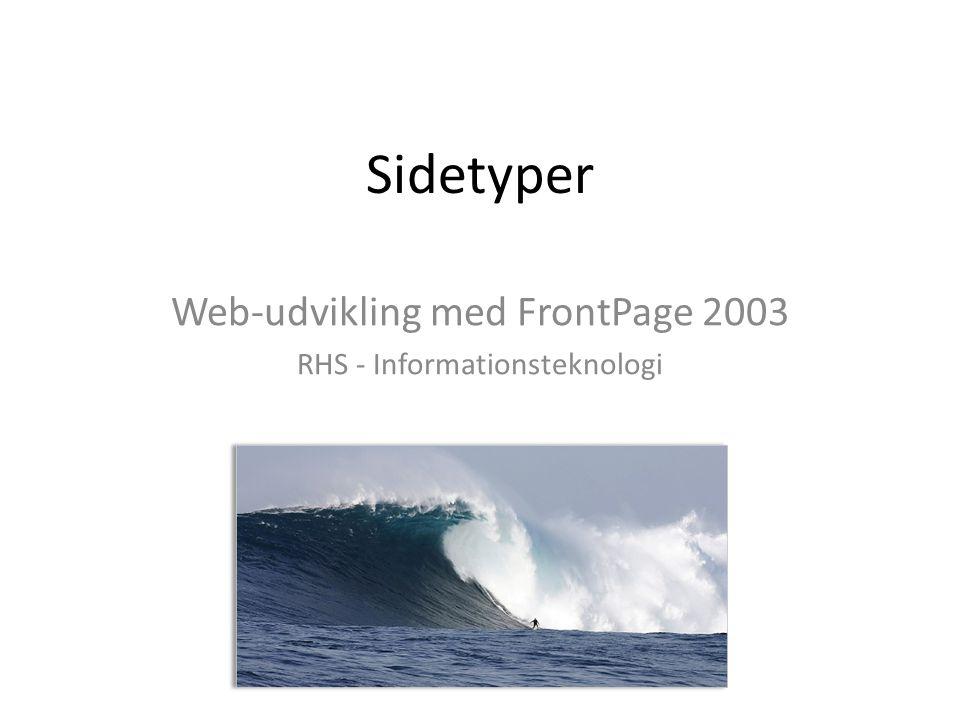 Sidetyper Web-udvikling med FrontPage 2003 RHS - Informationsteknologi