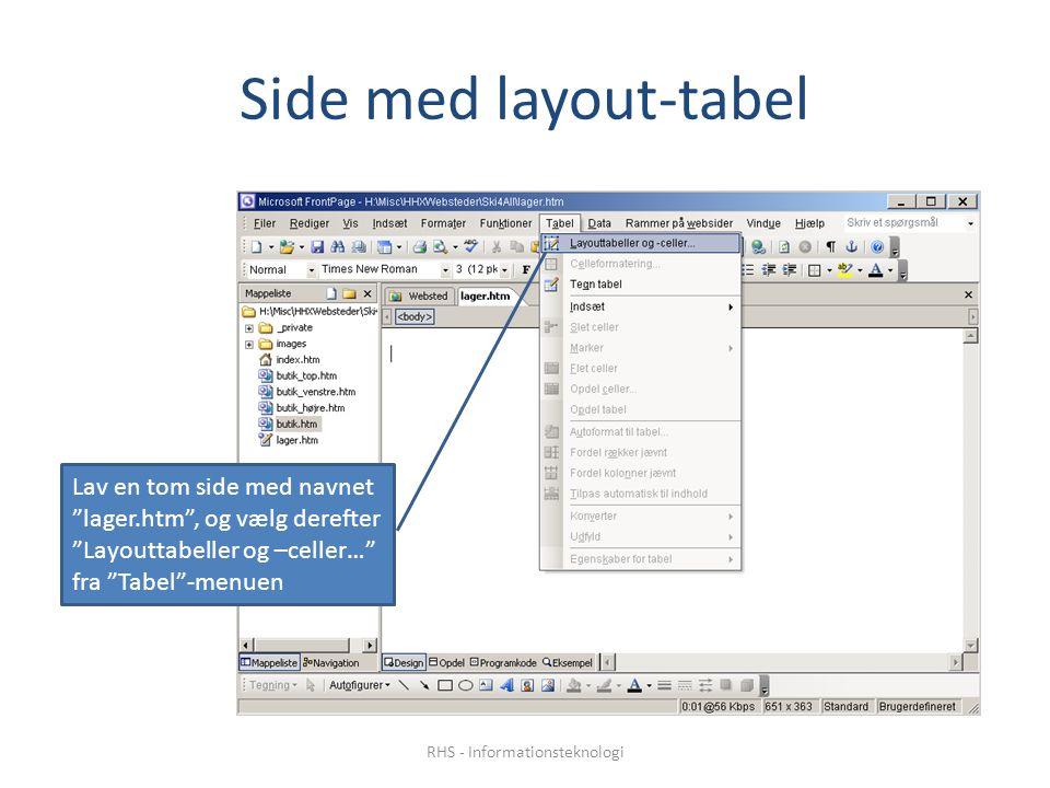 Side med layout-tabel Lav en tom side med navnet lager.htm , og vælg derefter Layouttabeller og –celler… fra Tabel -menuen RHS - Informationsteknologi