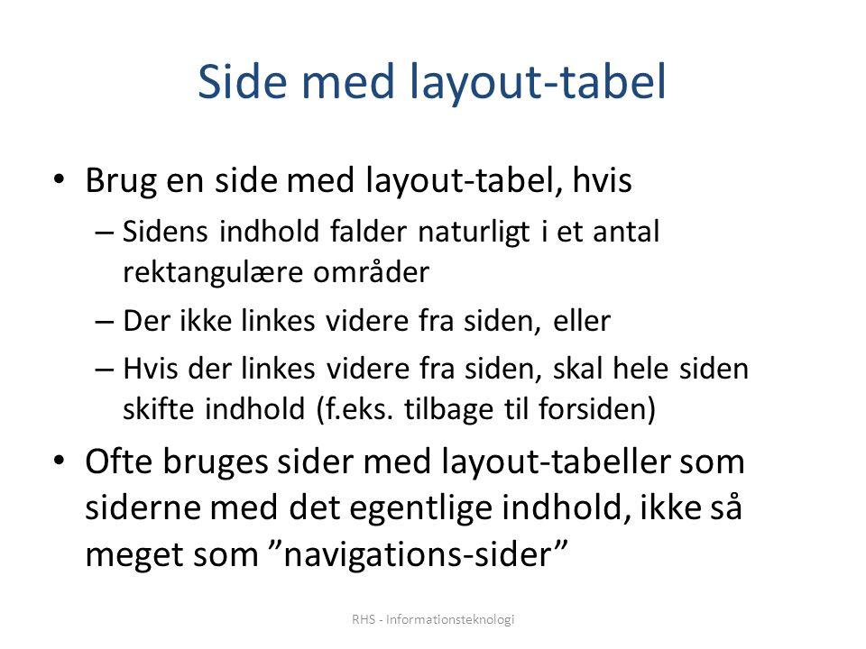 Side med layout-tabel • Brug en side med layout-tabel, hvis – Sidens indhold falder naturligt i et antal rektangulære områder – Der ikke linkes videre fra siden, eller – Hvis der linkes videre fra siden, skal hele siden skifte indhold (f.eks.