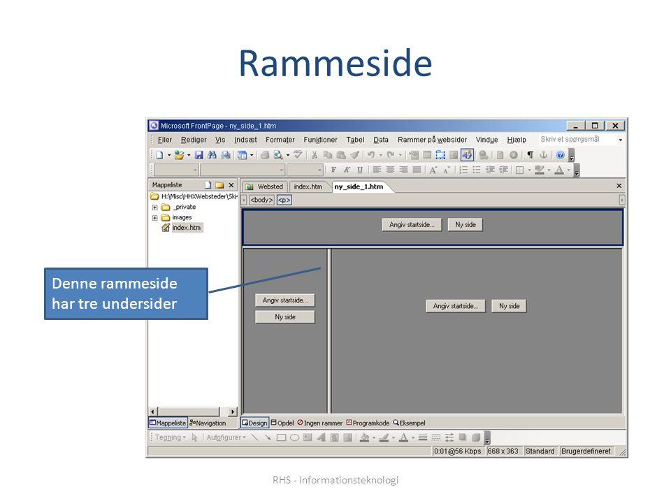 Rammeside Denne rammeside har tre undersider RHS - Informationsteknologi