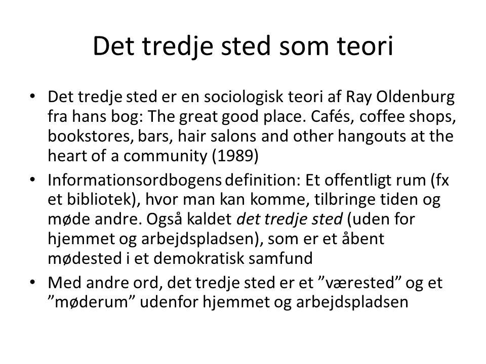 Det tredje sted som teori • Det tredje sted er en sociologisk teori af Ray Oldenburg fra hans bog: The great good place.