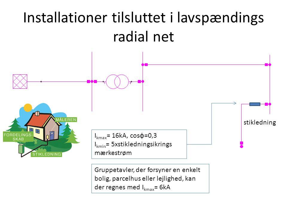 Installationer tilsluttet i lavspændings radial net stikledning I kmax = 16kA, cosφ=0,3 I kmin = 5xstikledningsikrings mærkestrøm Gruppetavler, der forsyner en enkelt bolig, parcelhus eller lejlighed, kan der regnes med I kmax = 6kA