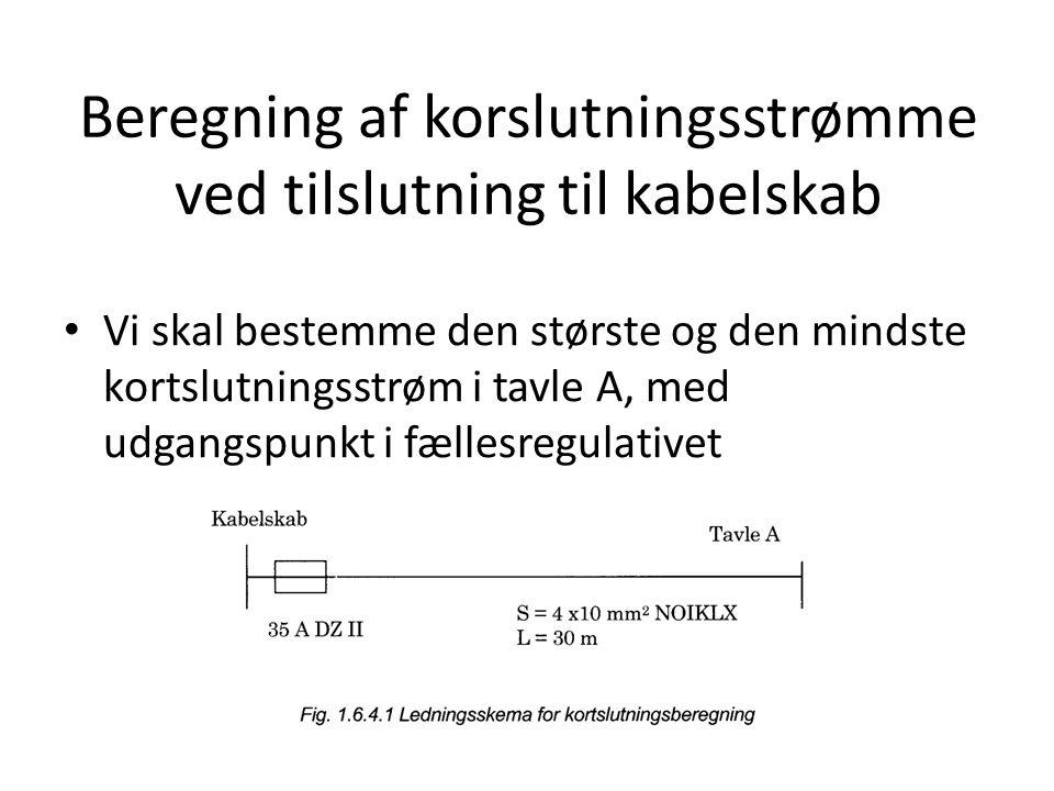 Beregning af korslutningsstrømme ved tilslutning til kabelskab • Vi skal bestemme den største og den mindste kortslutningsstrøm i tavle A, med udgangspunkt i fællesregulativet