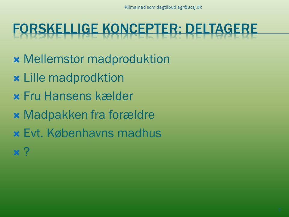  Mellemstor madproduktion  Lille madprodktion  Fru Hansens kælder  Madpakken fra forældre  Evt.